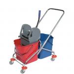 Wózek do sprzątania ze stali nierdzewnej dwuwiaderkowy  2x25L