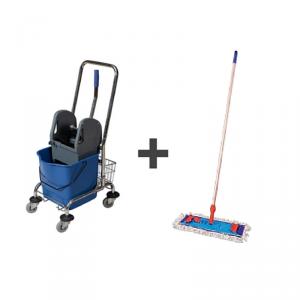 Wózek do sprzątania 1x25l z koszyczkiem i kompletem mopa