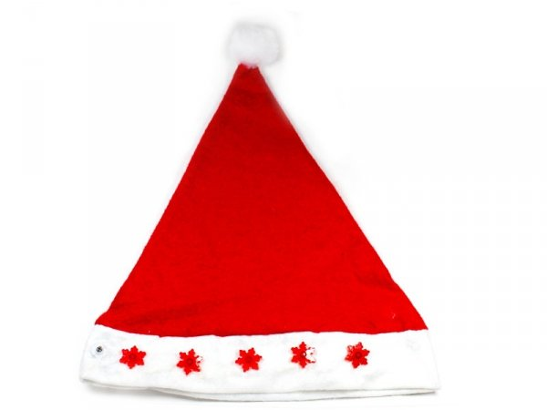 5854 CZAPKA MIKOŁAJA ŚWIECĄCA ŚNIEŻYNKI Świąteczna Hurt