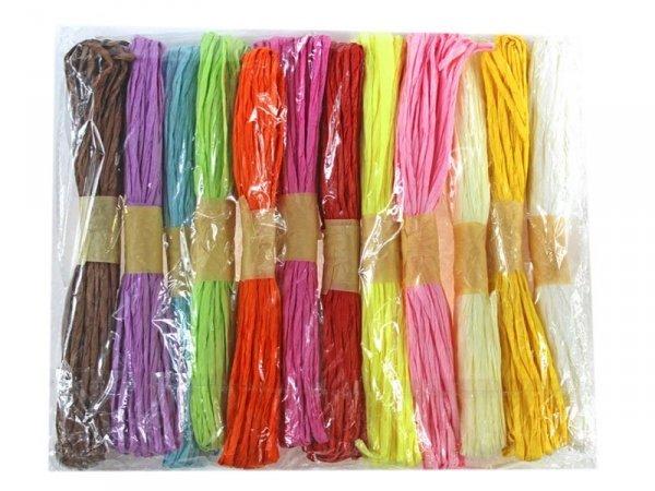 4690 RAFIA DEKORACYJNA NATURALNA Papierowa 12 Kolorów