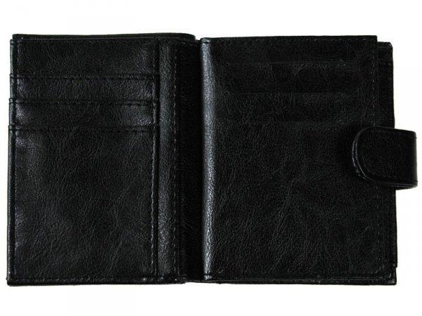 1596 PORTFEL MĘSKI SKÓROPODOBNY PIONOWY Czarny 12,5x10