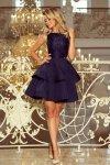 205-3 LAURA podwójnie rozkloszowana sukienka z koronkową górą - GRANATOWA