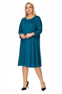 oversize'owa sukienka z asymetrycznym odcięciem i wiązaniem na plecach