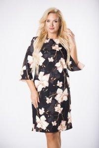 dopasowana sukienka w kwiaty z falbanami przy mankietach