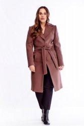klasyczny jednorzędowy płaszcz z wiązaniem w pasie
