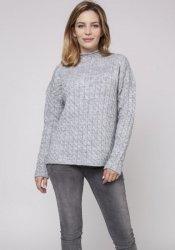 Monochromatyczny sweter z półgolfem