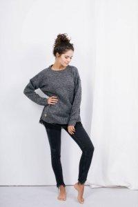 Sweter z koronką SUZANNE grafit