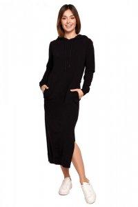 B197 Sukienka midi z kapturem - czarna
