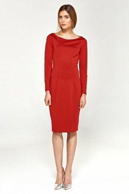 Dzianinowa sukienka - czerwony - S95