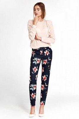 Klasyczne spodnie z lekko zwężanymi nogawkami - kwiaty/granat - SD33