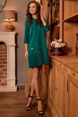 Prosta sukienka mini z plisowaniami L266 ciemna zieleń