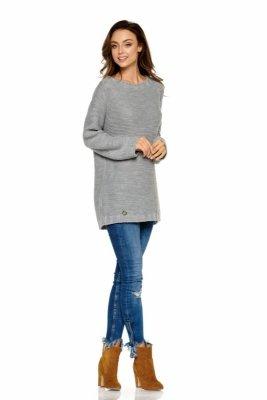 Modny sweter z łezką LS218 jasnoszary