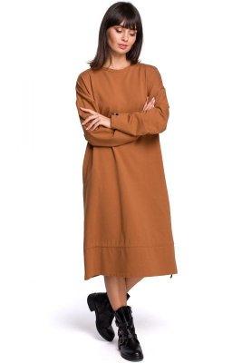 B100 Sukienka z tunelem na dole - karmel