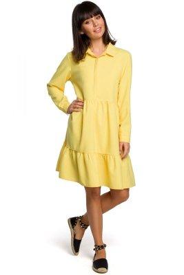 B110 Sukienka z trzech falban - żółta
