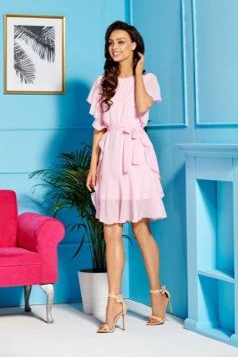 Sukienka z szyfonem i falbankami L303 pudrowy róż