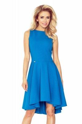 66-14 Gruba Lacosta - Ekskluzywna sukienka z dłuższym tyłem - KOBALTOWA