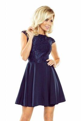 157-1 Sukienka MARTA z koronką - GRANATOWA