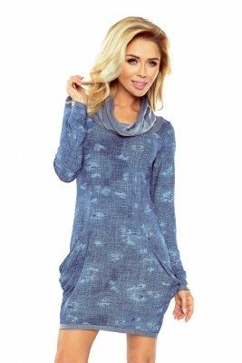 135-5 Golf - sukienka z dużymi kieszeniami - JEANS przecierany