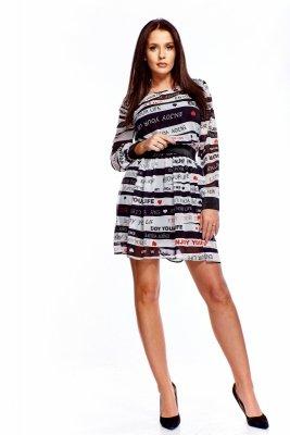 Wzorzysta sukienka z ozdobną gumą