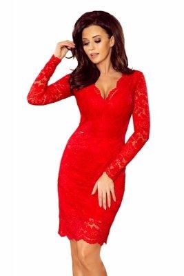 Sukienka koronkowa z długim rękawkiem i DEKOLTEM M70490_1