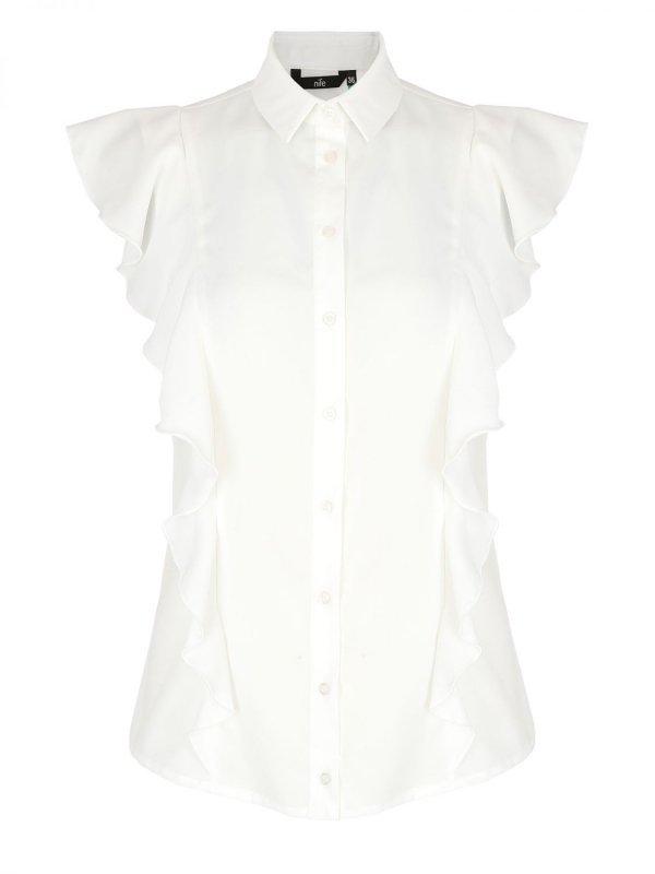 Bluzka z krótkim rękawem i falbanami - ecru - B88