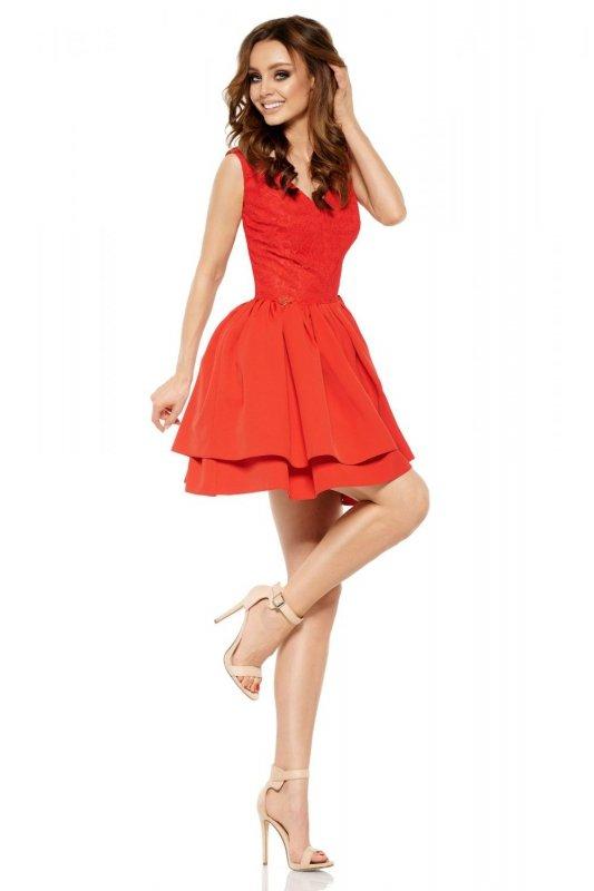 Wieczorowa sukienka mini z koronką  L260 czerwony