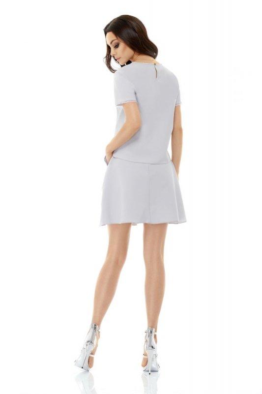 Modny komplet ze spódnicą z ozdobnymi kieszeniami L239 jasnoszary