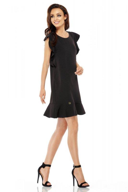 Wizytowa sukienka z falbankami L248 czarny