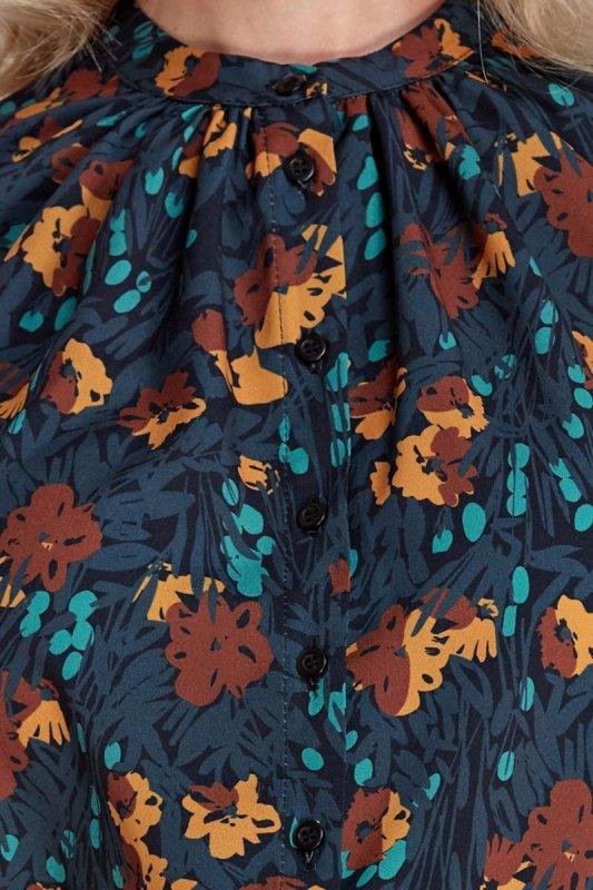Bluzka z marszczeniami - wzór/brąz - CB01