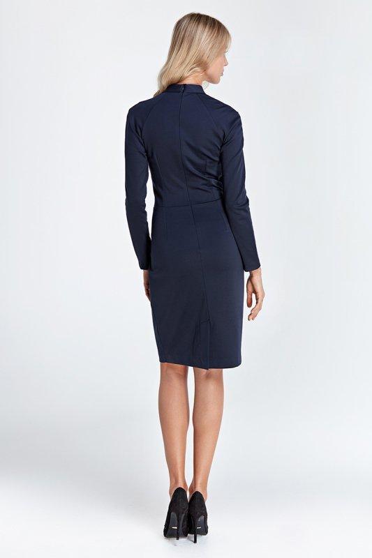 Sukienka z subtelnym dekoltem - granat - CS05