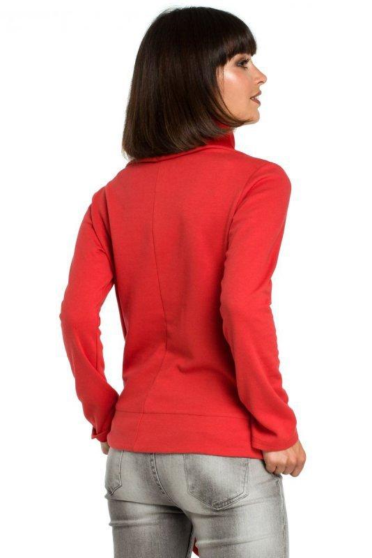 B085 Bluza z wiązaniem na boku czerwona