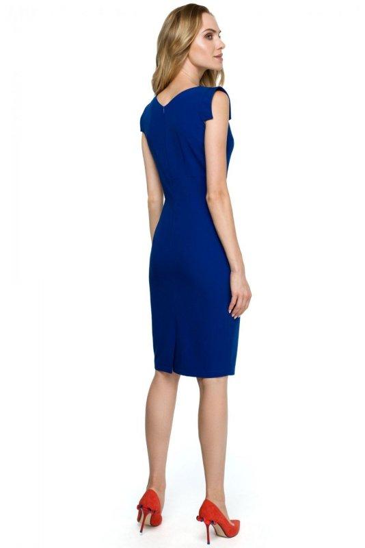 S121 Sukienka z asymetrycznym dekoltem - chabrowa