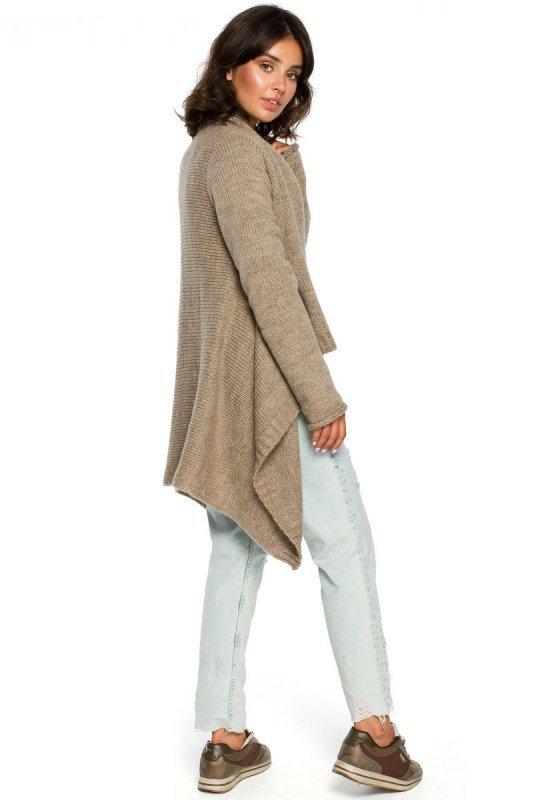 BK017 Kardigan z drapowanym przodem - jasnobrązowy