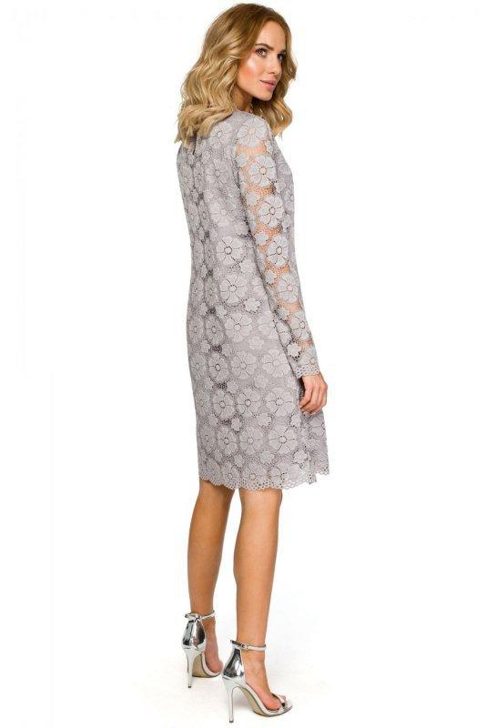 9d62aa7182 M406 Koronkowa sukienka trapez - szara - Sukienki - Moda Damska