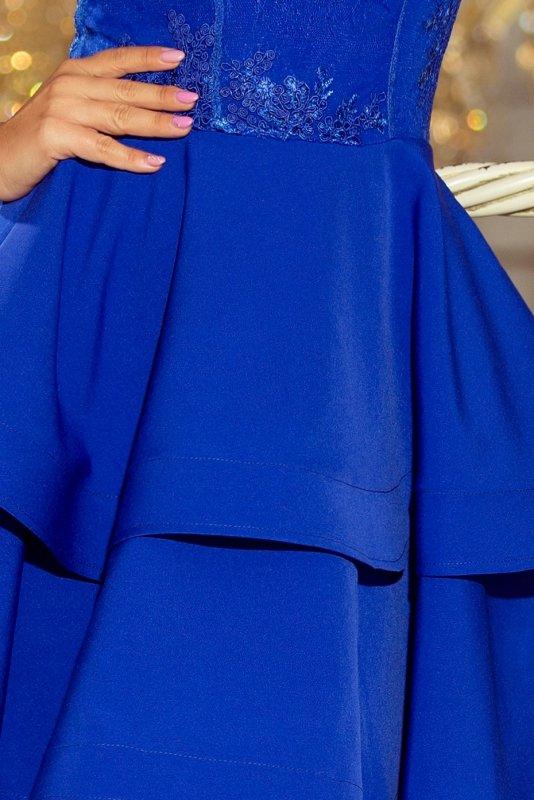 206-1 DEVI podwójnie rozkloszowana sukienka z haftowaną górą - CHABROWA