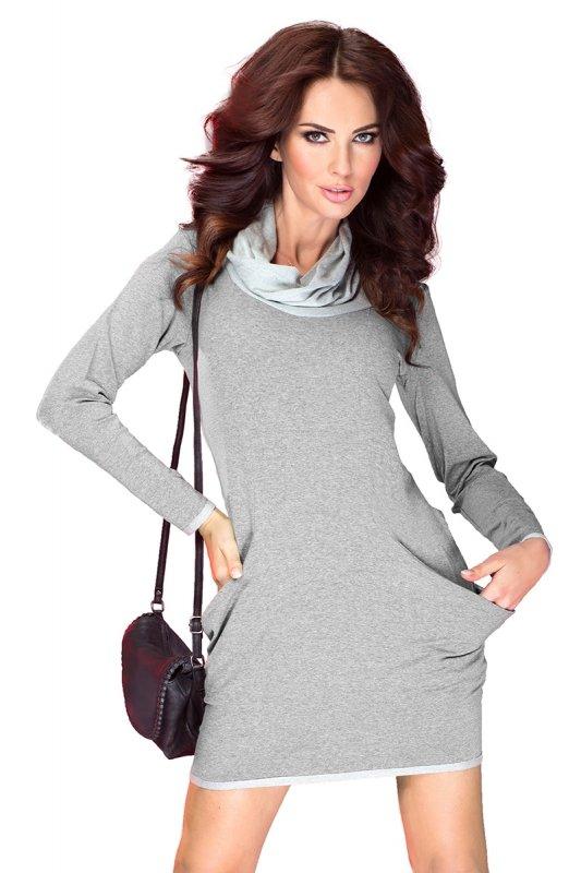 43-2 Golf - sukienka z dużymi kieszeniami - jasny/średni szary z pętelką