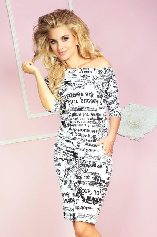 13-25 Sukienka sportowa - gazetowe napisy +  biały