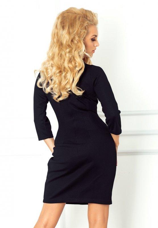 68-3 Sukienka z klamerką - gruba lacosta - czarna