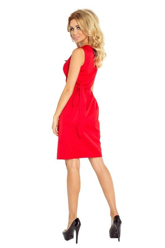 126-5 MEMORY - sukienka z wiązaniem - CZERWONA