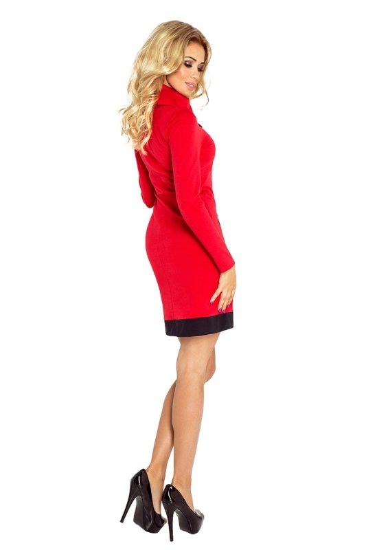 129-3 JUSTYNA sukienka z trzema zamkami - CZERWONA + czarne zamki