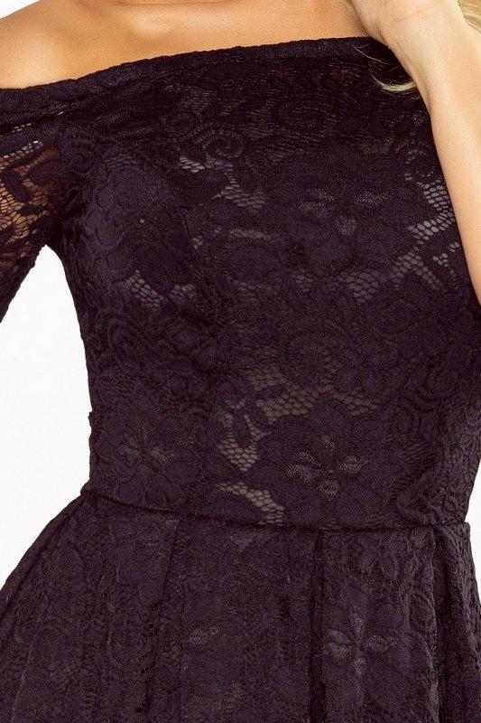 168-1 Sukienka z odkrytymi ramionami - kontrafałda - KORONKA CZARNA