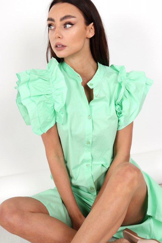 koszulowa sukienka z falbanami na ramionach