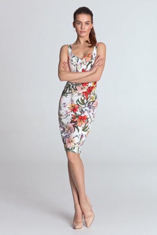9b4838350d Sukienka z dekoltem w kształcie serca - kwiaty ecru - S118 ...
