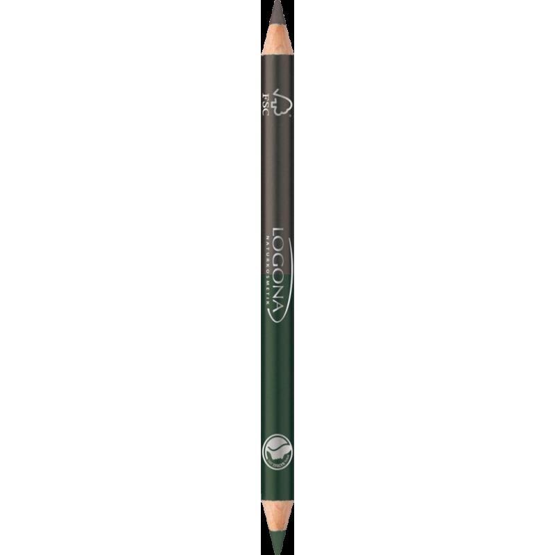 Logona Podwójna kredka do oczu Nr 02 szaro-zielona