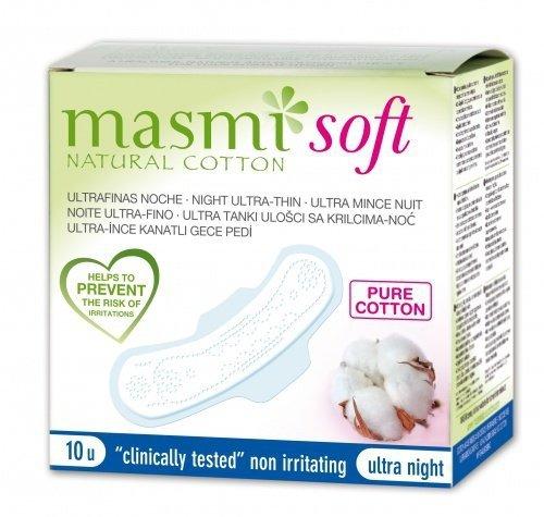 Masmi Ultracienkie bawełniane podpaski na noc ze skrzydełkami (soft)