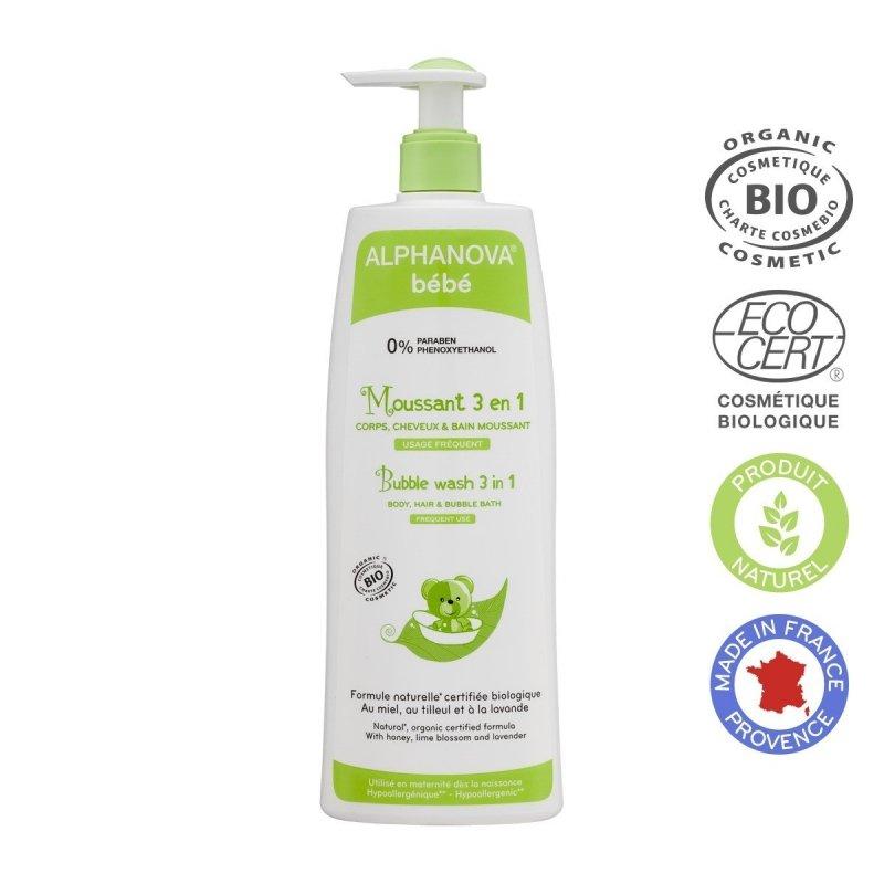 Alphanova Bebe hypoalergiczny organiczny płyn 3w1 do kąpieli i mycia ciała i włosów dla niemowląt i dzieci 500 ml