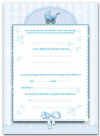 Zaproszenie na Chrzest ' WÓZECZEK  - błękitny