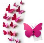 Motylki dekoracyjne 3D 12 szt różowe