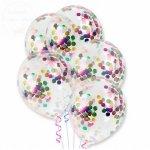 Balony przezroczyste + konfetti 30cm - 1szt