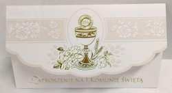 Zaproszenie na I Komunię Świętą - złoty ornament